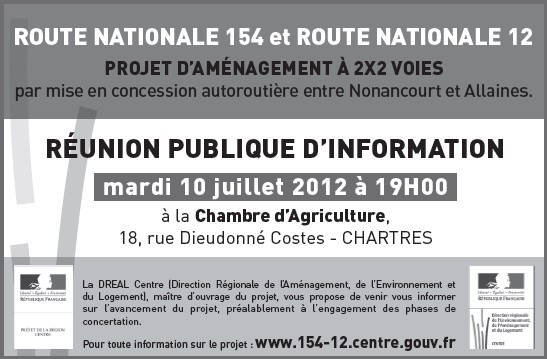 RÉUNION PUBLIQUE D'INFORMATION - ROUTE NATIONALE 154 et ROUTE NATIONALE 12