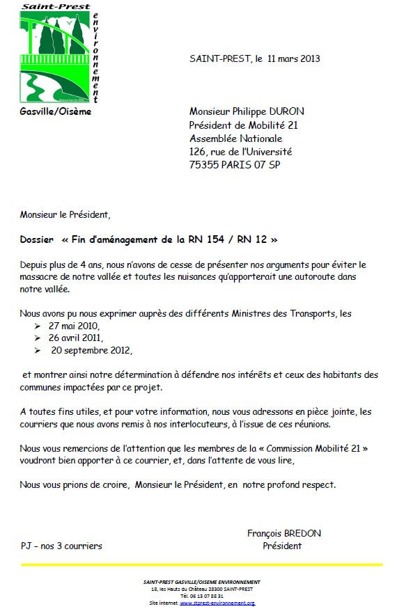 image Courrier Fin d'aménagement de la RN 154 / RN 12
