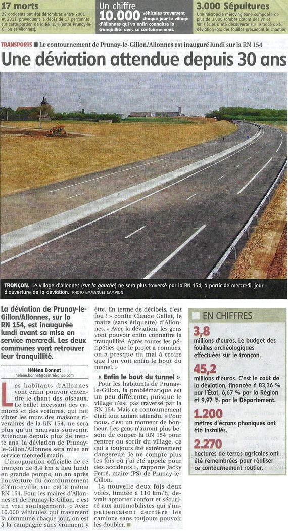 Article Inauguration de la déviation