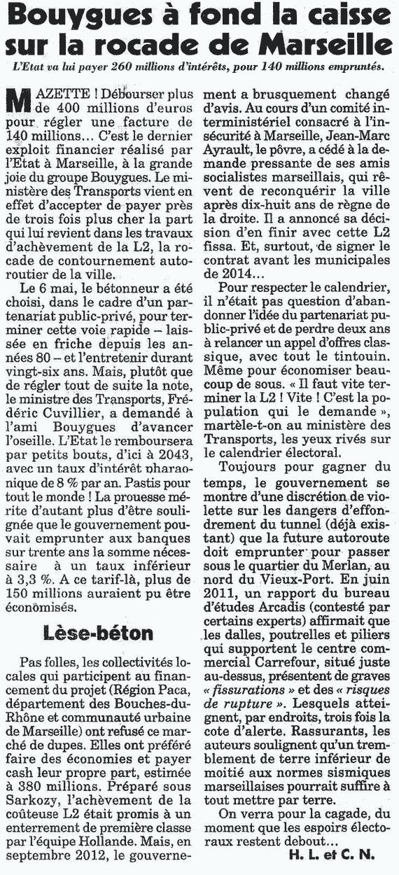 Article Bouygues à fond la caisse sur la rocade de Marseille