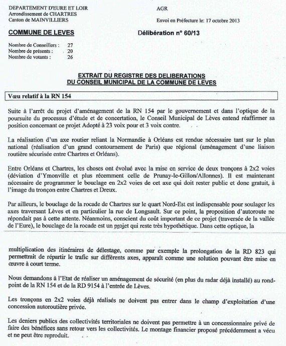 Délibération conseil municipal Lèves
