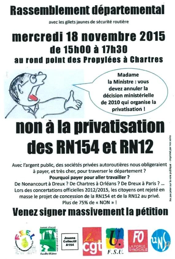 Non a la privatisation des RN154 et RN12