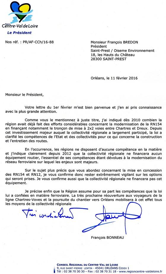Courrier Président Région Centre-Val de Loire