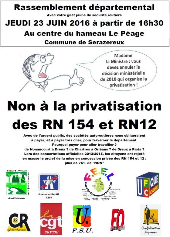 Non à la privatisation des RN 154 et RN12