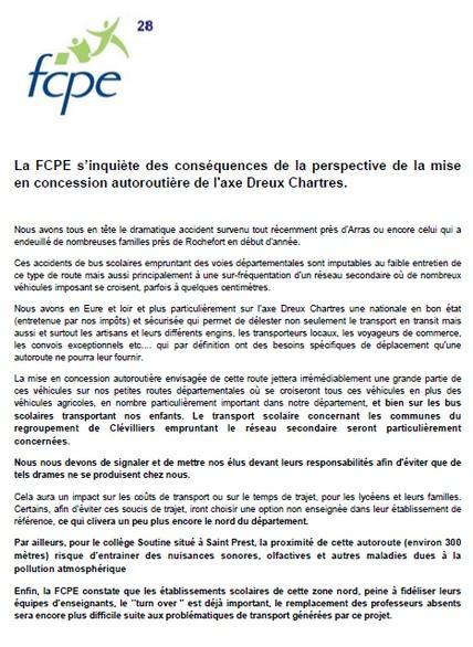 La FCPE s'inquiète des conséquences de la perspective de la mise en concession autoroutière de l'axe Dreux Chartres.