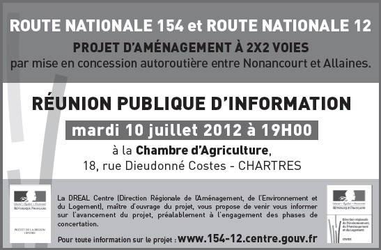 RÉUNION PUBLIQUE D'INFORMATION - ROUTE NATIONALE 154 et ROUTE NATIONALE 12